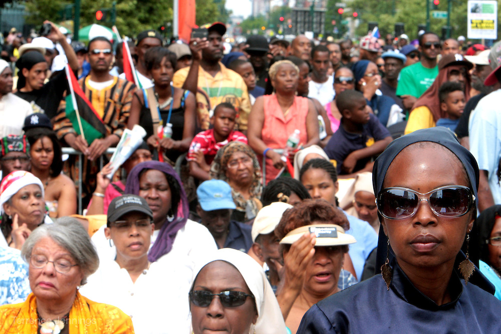 New York, NY-August 13-  Audience at the Millions March in Harlem with keynote speaker Hon. Louis Farrakhan held at the corner of West 110th and Lenox Avenue in Harlem on August 13, 2011 in New York City. Photo Credit: Terrence Jennings