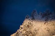The rugged peak of Mt. Cayley in the Coastal Mountain Range of British Columbia near Whistler at sunrise