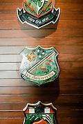 Flight emblems at the Pennisula Bangkok heli-pad lounge