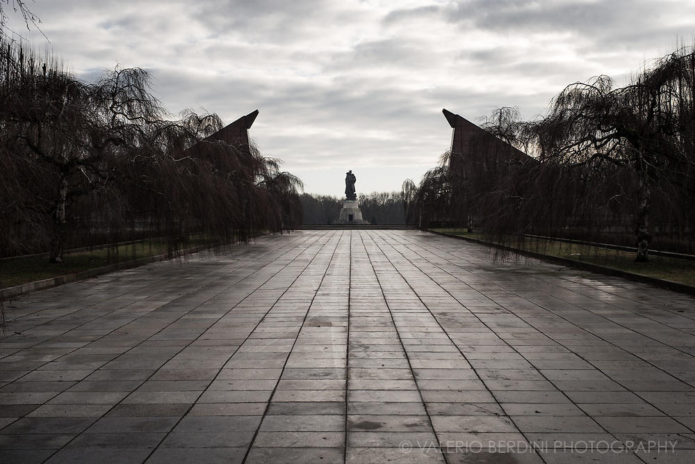 The Soviet War Memorial is a vast war memorial and military cemetery in Berlin's Treptower Park. It was built to the design of the Soviet architect Yakov Belopolsky to commemorate 5,000 of the 80,000 Soviet soldiers who fell in the Battle of Berlin in April–May 1945. It opened four years after World War II on May 8, 1949. The Memorial served as the central war memorial of East Germany.