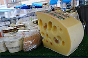 France, Paris, an outdoor, street food market Cheese store