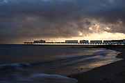 The pier at Southwold, Suffolk, at sunset in winter.