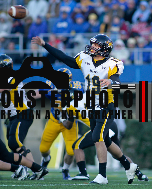 Towson QB (#19 Bart Blanchard attempts a pass in the packet. Delaware defeated Towson 48-0 on a brisk Saturday afternoon at Delaware stadium in Newark Delaware...Delaware improves to 8-1, Delaware will travel to Massachusetts to face the minute men of UMass Nov 13.