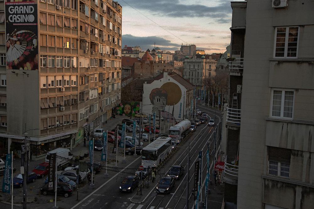 Street art and traffic on Karadjordjeva street.<br /> <br /> Savamala neighborhood of Belgrade, Serbia.