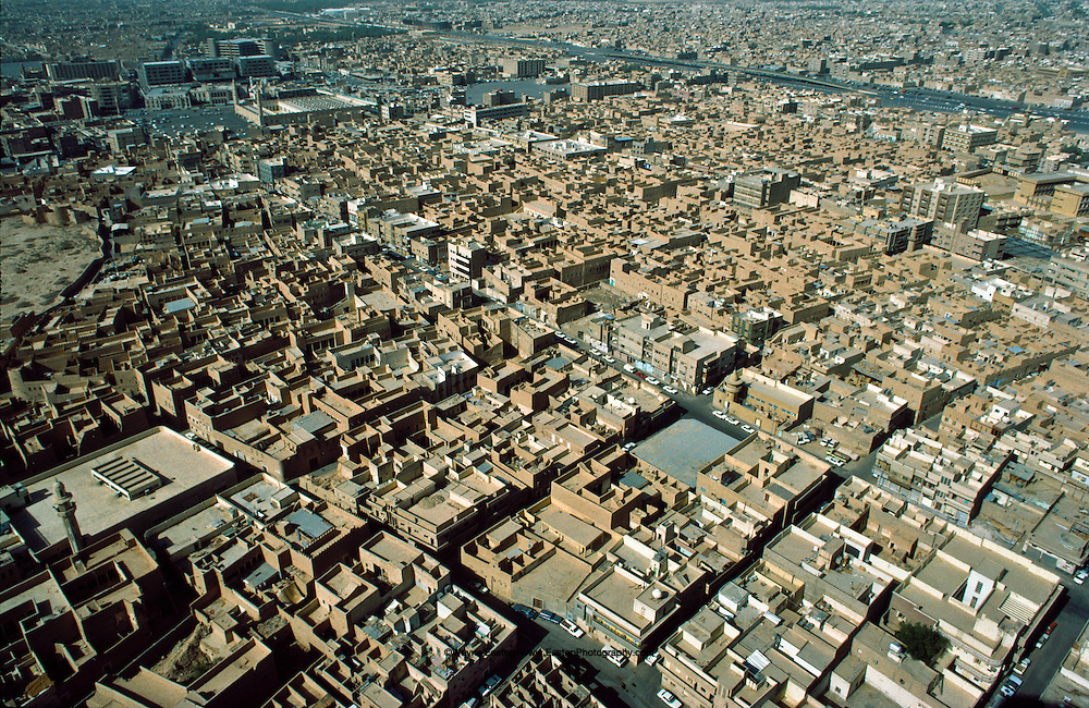 Adobe houses and business in central Riyadh. Saudi Arabia