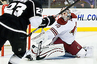 Ilya Bryzgalov (Phoenix Coyotes, #30) saves a shot during ice-hockey match between Los Angeles Kings and Phoenix Coyotes in NHL league, March 3, 2011 at Staples Center, Los Angeles, USA. (Photo By Matic Klansek Velej / Sportida.com)