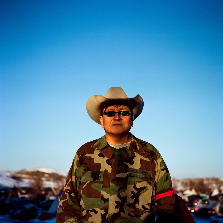 OCETI SAKOWIN CAMP, CANNON BALL, NORTH DAKOTA - DECEMBER 4, 2016: Veteran Linus Chasing Hawk of South Dakota came to Standing Rock along with thousands of vererans on December 4th, 2016 to march in protest of the construction of the Dakota Access Pipeline.