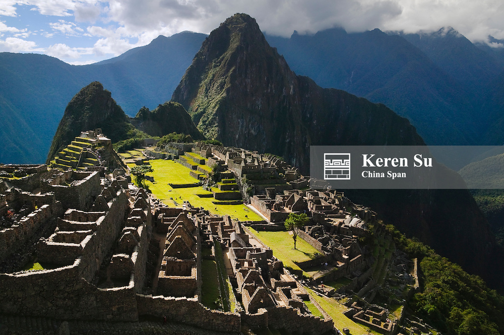 Ancient ruins of Machu Picchu in the Andes Mountain, Peru