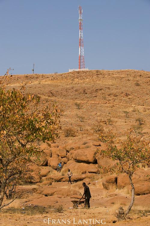 Cell phone tower near Twyfelfontein World Heritage Site, Uibasen Conservancy, Damaraland, Namibia