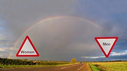 Confusing Unusual Traffic Signs with Toilet Symbols and Rainbow Over Highway