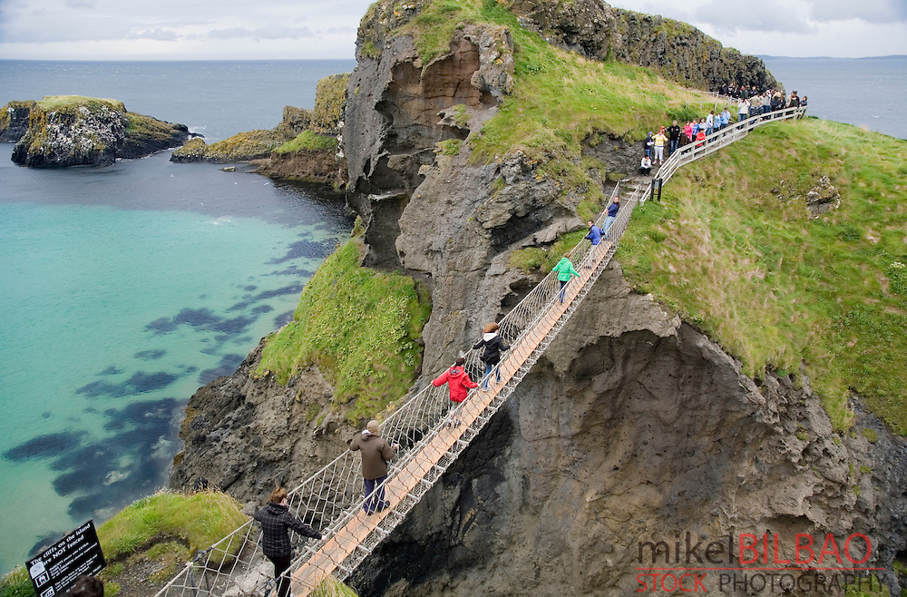 suspension bridge in Carrick-a-Rede, in &quot;Causeway Route&quot;.<br /> Northern Ireland, United Kingdom (3)
