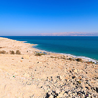 Rocky beach on the western Dead Sea coast, Israel.