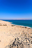Rocky beach on the western Dead Sea coast, Israel. WATERMARKS WILL NOT APPEAR ON PRINTS OR LICENSED IMAGES.