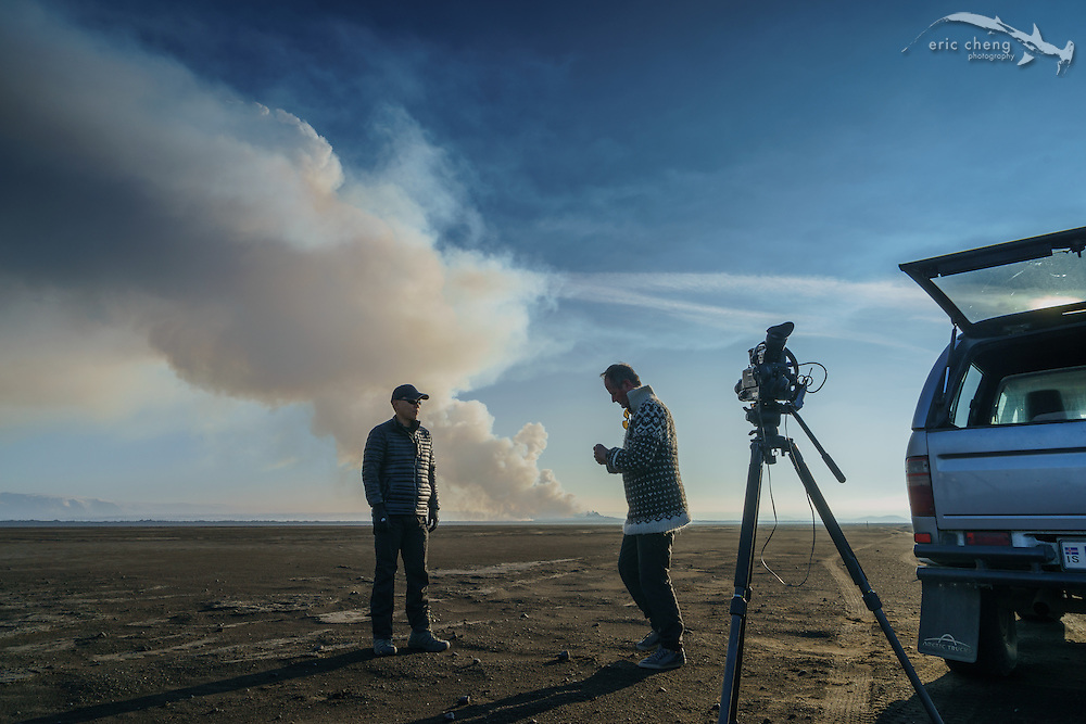 PHOTO BY RAGNAR SIGURDSSON. Eric Cheng in front of the Holuhraun volcano eruption, Bardarbunga volcanic system, Iceland.