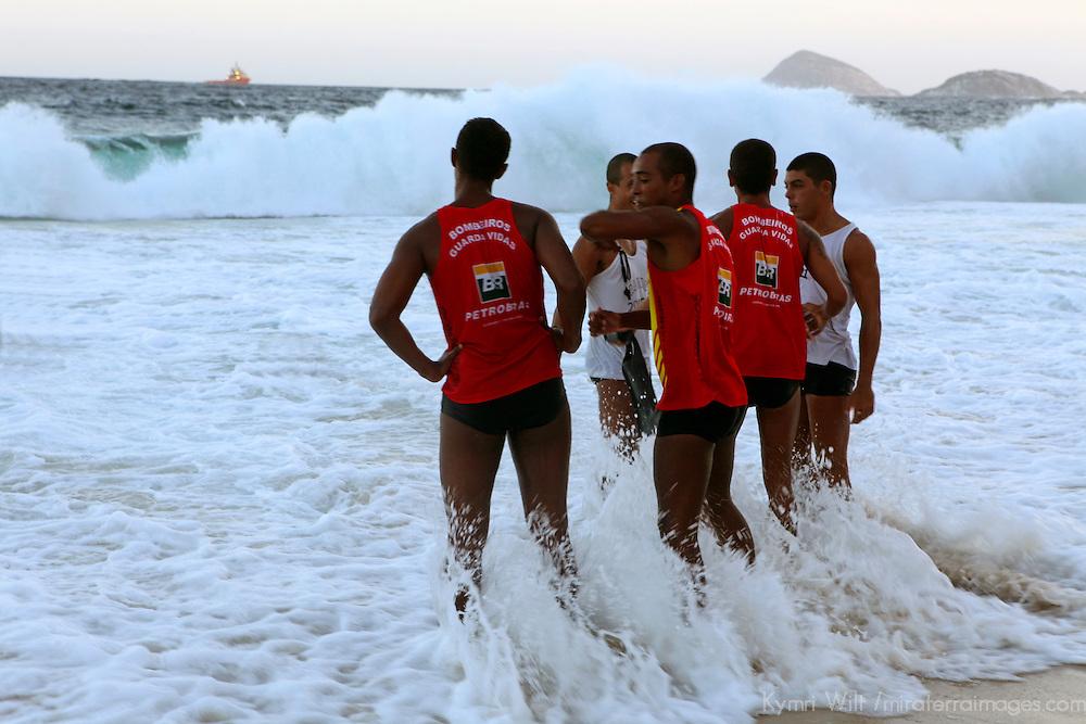 South America, Brazil, Rio de Janeiro. Lifeguards at Copacabana Beach.