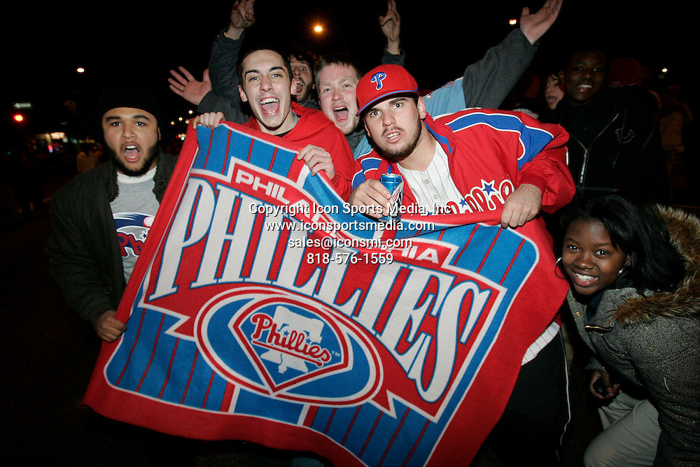 October 29, 2008 - Philadelphia, Pennsylvania, USA - Philadelphians celebrate the World Series victory in south Philadelphia along S. Broad at Snyder  on Wednesday