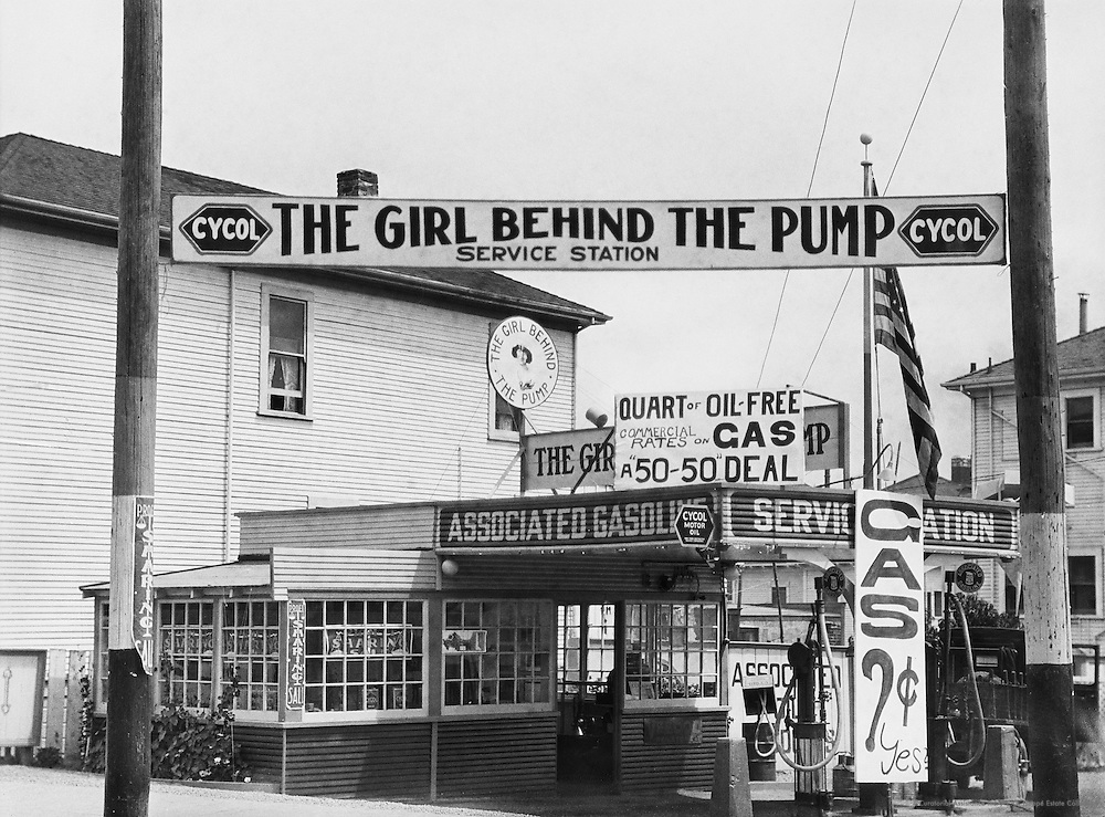 """""""The Girl Behind the Pump,"""" Gas Station, Pacific Coast Highway, Los Angeles, California, USA, 1926"""