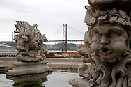 Lisbon harbour and 25th of April bridge seen from a lookout near the Foreign Affairs ministery.