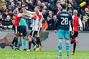 ROTTERDAM - Feyenoord - PSV , Voetbal , Eredivisie , Seizoen 2016/2017 , De Kuip , 26-02-2017 ,  Feyenoord speler Jens Toornstra scoort de 1-0 en viert dit met Feyenoord speler Terence Kongolo (l) Feyenoord speler Nicolai Jorgensen (m) terwijl PSV speler Marco van Ginkel (r) baalt