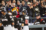 Fans cheer former Mariner Ichiro, now with the Marlins, after he hit a home run in the ninth inning in what could be his final at-bat at Safeco Field. (Ken Lambert/The Seattle Times)