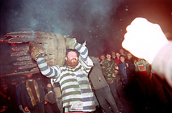 """THE END OF THE BARREL"".TAR BARRELS OF OTTERY ST MARY  EAST DEVON UK..PHOTOGRAPHER RUPERT RIVETT©2003..07771928201 .(01273) 695107"