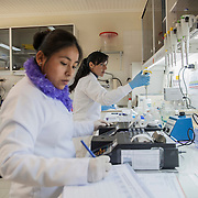 Tests in the lab room of the hospital in Anzaldo, near Cochabamba, in the Bolivian Andes