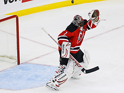 Nov 1, 2008; Newark, NJ, USA; New Jersey Devils goalie Kevin Weekes (1) makes a save during the second period at the Prudential Center.