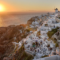 Sunset in Oia,Santorini, Kyclades,South Aegean, Greece,Europe