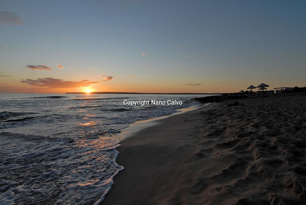 Beautiful sunset at Migjorn beach, Formentera