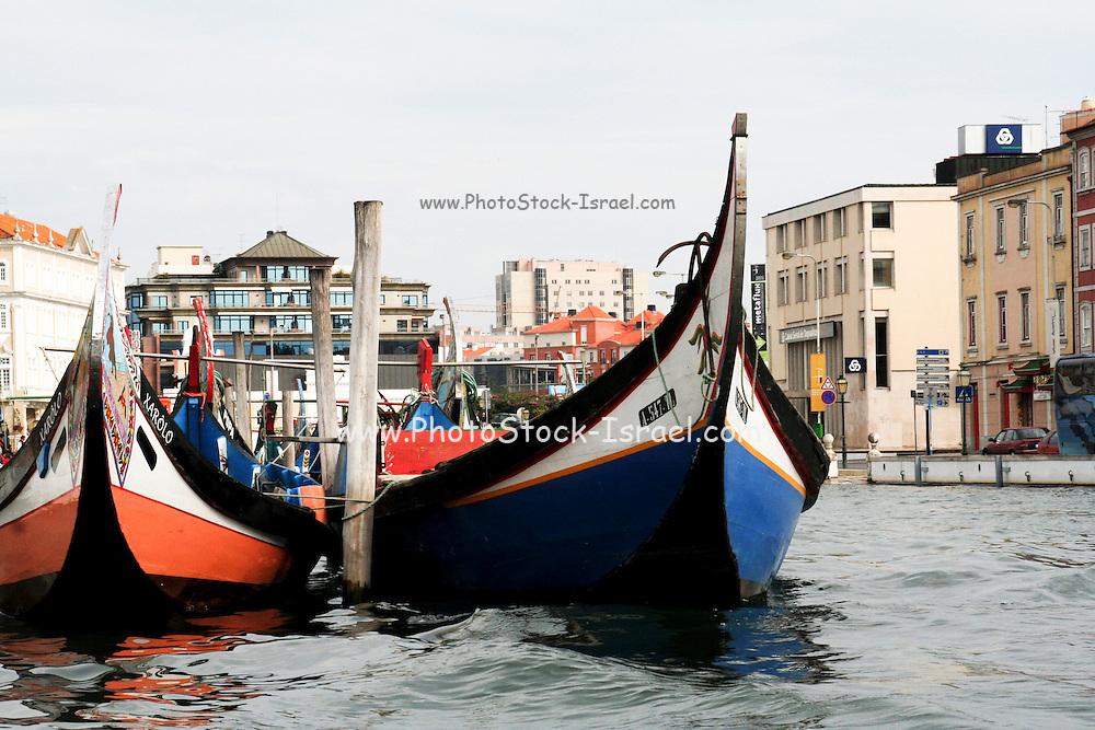 Portugal, Aveiro,Traditionally decorated fishing boats