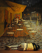 "Atlanta, Georgia: A man sleeps in front of a mural painting on Moreland Avenue of Vincent Van Gogh's ""Cafe Terrace at Night."""