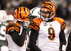 Jan 3, 2010; East Rutherford, NJ, USA; Cincinnati Bengals quarterback Carson Palmer (9) and Cincinnati Bengals wide receiver Chad Ochocinco (85) talk during the first half at Giants Stadium.