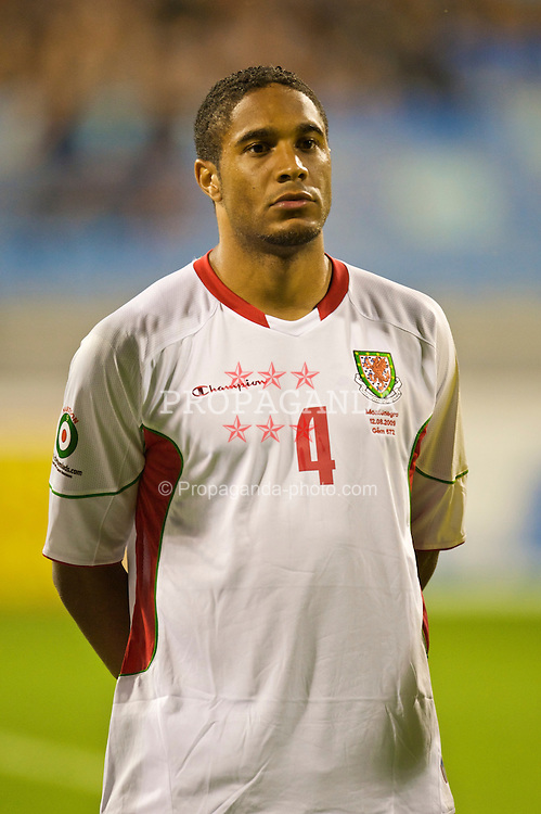 PODGORICA, MONTENEGRO - Wednesday, August 12, 2009: Wales' Ashley Williams lines-up before an international friendly match against Montenegro at the Gradski Stadion. (Photo by David Rawcliffe/Propaganda)