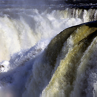 South America, Argentina, Iguacu Falls. Layers of rapids and mist at Iguacu Falls.