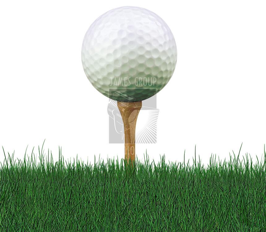 worm's eye view of golf ball on tee