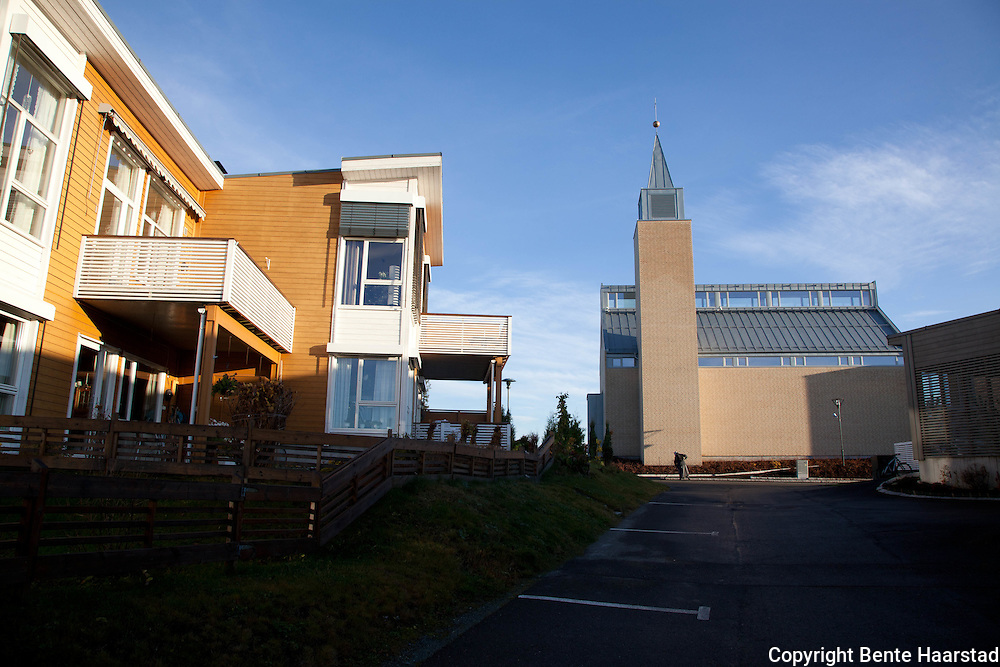 The new Bridgettine Convent and Convent Church is built among ordinary houses, at Tiller, outside the city of Trondheim.