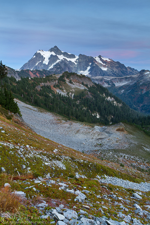 View of Mount Shuksan, Huntoon Point on Kulshan Ridge, and the sloped on the south side of Table Mountain.  Photographed in the fall from the Chain Lakes Trail in the Mount Baker Wilderness, Washington State, USA.