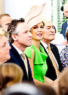 HAAKSBERGEN - Queen Maxima of The Netherlands opens the new building of Unipro bv producer and supplier of floor systems in Haaksbergen, The Netherlands, 16 May 2014. The Queen opens their new green building, with the construction sustainability and modern production are combined. That way they can produce floors CO2 neutral. COPYRIGHT ROBIN UTRECHT
