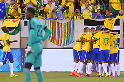 Sep 9, 2014; East Rutherford, NJ, USA; Brazil celebrates a goal by Brazil midfielder Willian (19) during the first half of their game against Ecuador at MetLife Stadium.