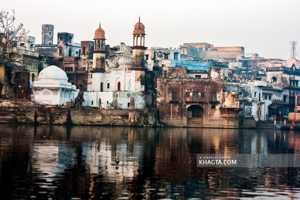 Ancient buildings at Vishram Ghat on the banks of Yamuna in Mathura. Mathura is a sacred town situated on the banks of Yahuman river in Uttar Pradesh, northern India. The birthplace of the deity Lord Krishna. It is a pilgrimage site for Hindus.