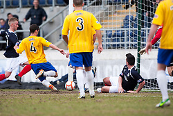Falkirk's Craig Sibbald (left) scoring their second goal..Falkirk 4 v 0 Cowdenbeath, 6/4/2013..©Michael Schofield..