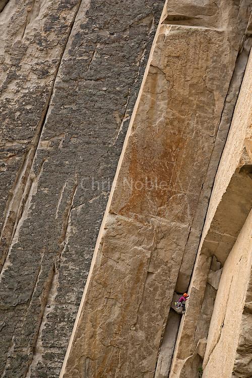 "Melissa Thaw climbing the ultaclassic route ""Sheila"" 10a Sheelite Canyon, Pine Creek, California"