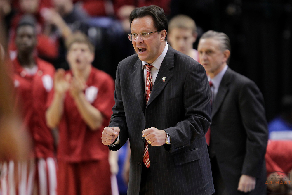 14 December 2013: Indiana head coach Tom Crean as the Indiana Hoosiers played Notre Dame Fighting Irish in a college basketball game in Indianapolis.