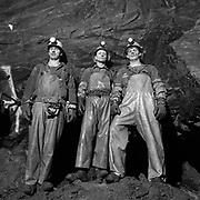 Three development miners on an unknown underground level at the New Britannia Mine (Gold) in Snow Lake, Manitoba, Canada. (Credit Image: © Louie Palu/ZUMA Press)