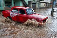 Old Russian car in Holguin, Cuba.