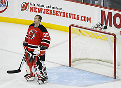 Feb 26, 2009; Newark, NJ, USA; New Jersey Devils goalie Martin Brodeur (30) during the first period of their game against the Colorado Avalanche at the Prudential Center.