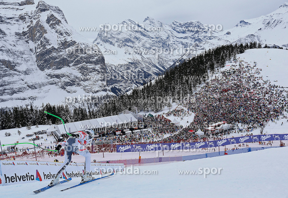 18.01.2014, Lauberhorn, Wengen, SUI, FIS Weltcup Ski Alpin, Wengen, Abfahrt, Herren, im Bild Hannes Reichelt (AUT) // in action during the downhill of the Wengen FIS Ski Alpine World Cup at the Lauberhorn in Wengen, Switzerland on 2014/01/18. EXPA Pictures &copy; 2014, PhotoCredit: EXPA/ Freshfocus/ Christian Pfander<br /> <br /> *****ATTENTION - for AUT, SLO, CRO, SRB, BIH, MAZ only*****