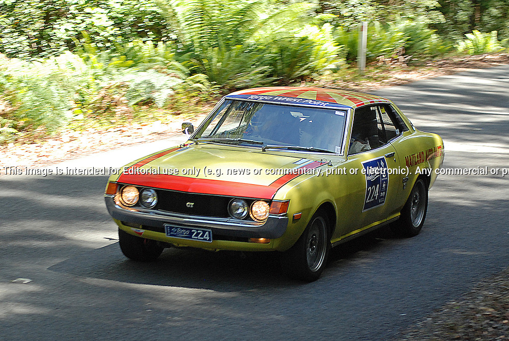 224 Daryl Elliott & Craig Whyburn.1974 Toyota Celica GT.Day 1.Targa Wrest Point 2010.Southern Tasmania.30th of January 2010.(C) Sarah Biggin.Use information: This image is intended for Editorial use only (e.g. news or commentary, print or electronic). Any commercial or promotional use requires additional clearance.