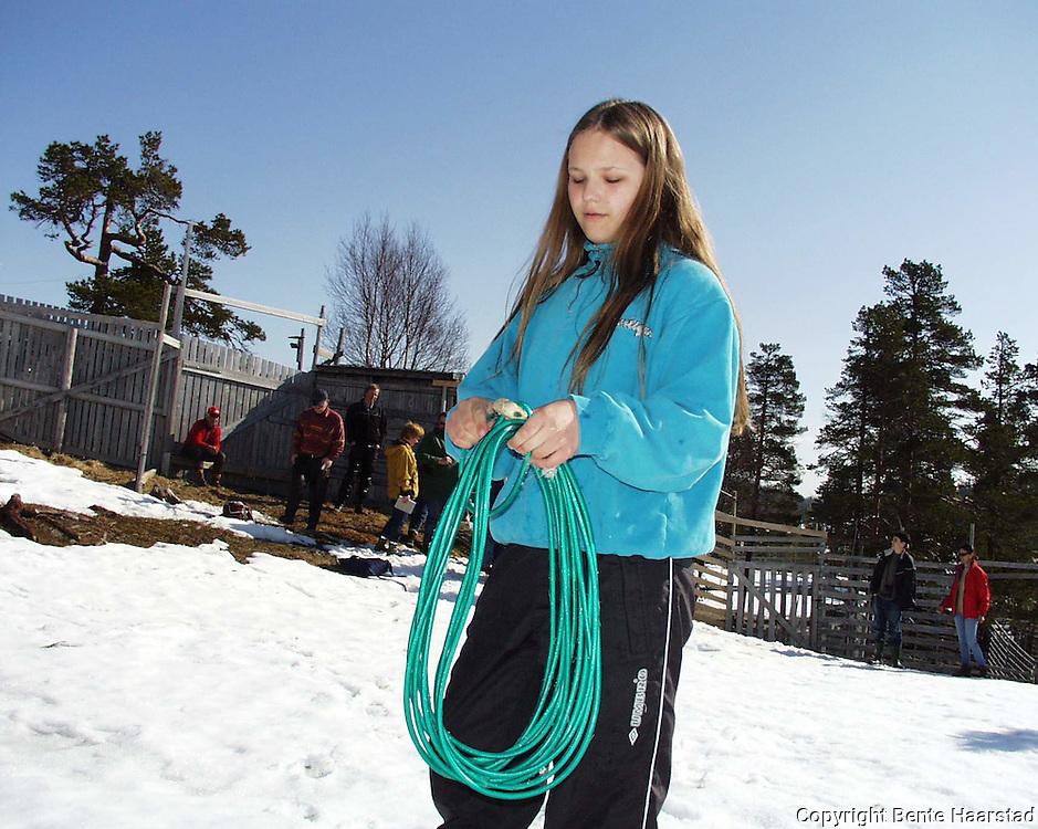 Anna Holtan (12), Namdalseid..dig Det sørsamiske området strekker seg fra Saltfjellet i nord til Elgå i Hedmark i sør. Omfatter noen få tusen på norsk og svensk sida av grensa. The sourth sami people consists of only a few thousand people.