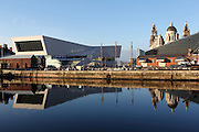 Reflections of the docklands of Liverpool, just before sunset.